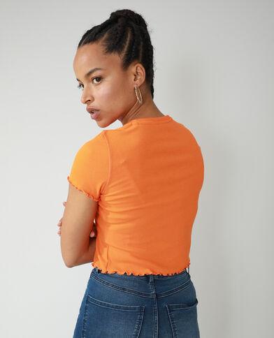 T-shirt con risvolto arancio - Pimkie