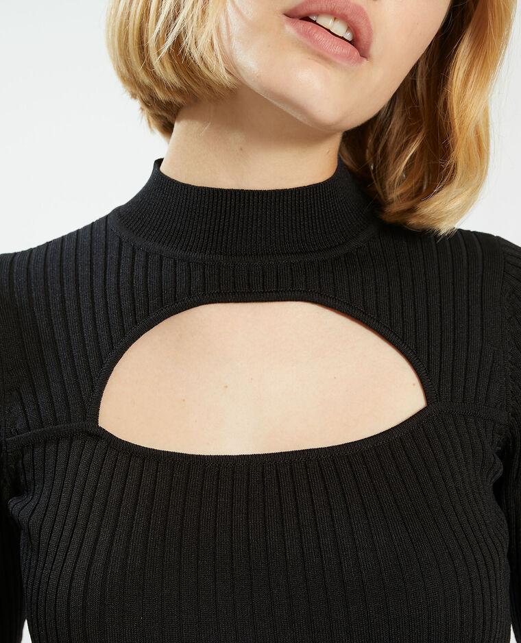 T-shirt a coste con taglio nero - Pimkie
