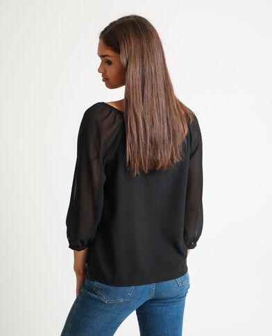 Blusa con maniche trasparenti nero