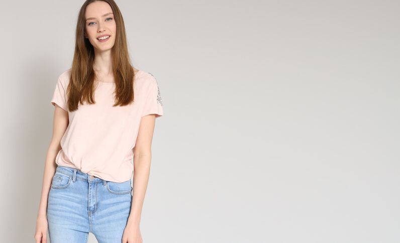 T-shirt a perle rosa