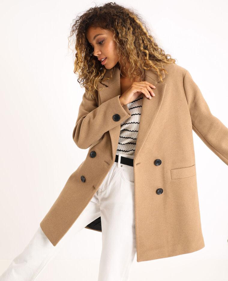 Cappotto in panno di lana caramello - Pimkie