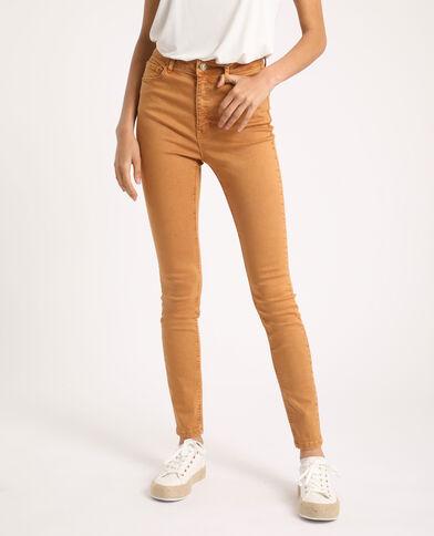 Pantalone skinny high waist beige cipria