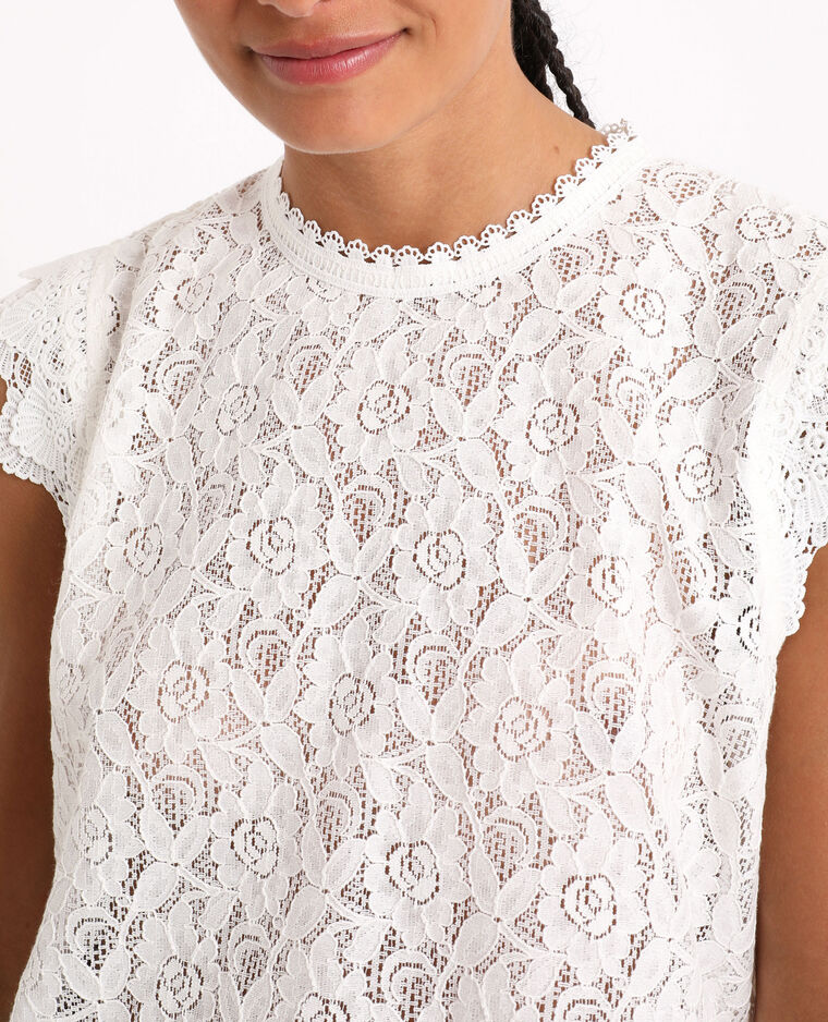 Top in pizzo bianco sporco