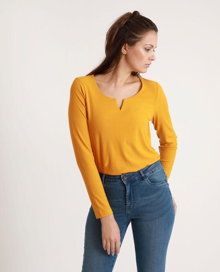 T-shirt a coste giallo