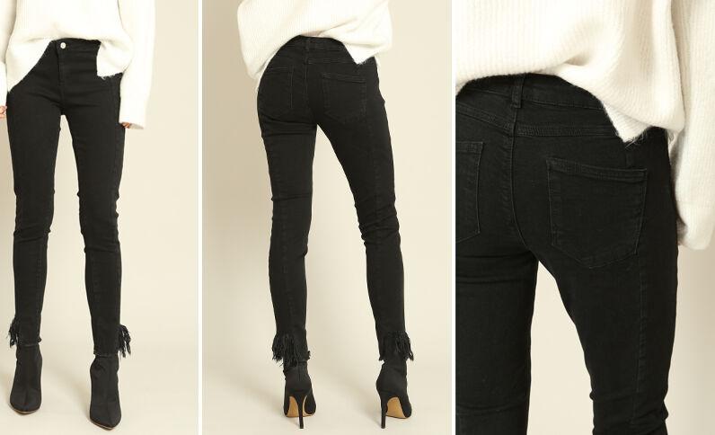 Pantalone skinny con frange nero