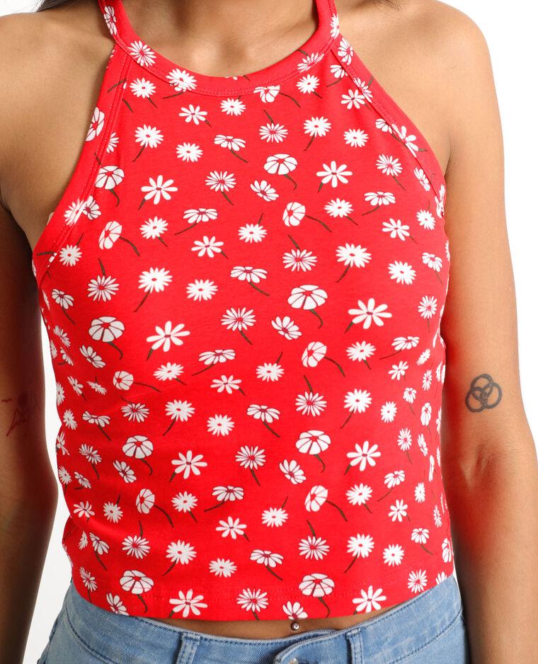 Top cropped a fiori rosso