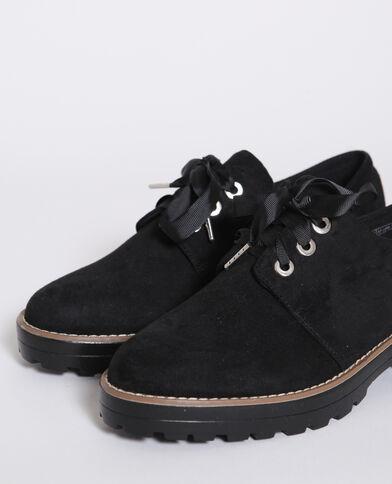 Scarpe derby effetto pelle scamosciata nero