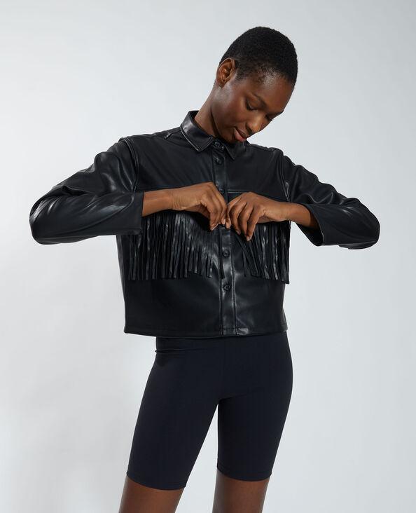 Camicia in similpelle con frange nero - Pimkie