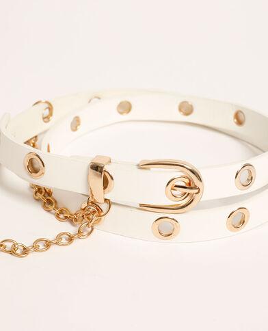 Cintura in similpelle con catena bianco - Pimkie