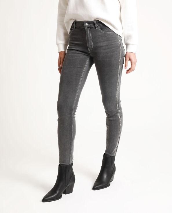 Jeans skinny con strass grigio chiné