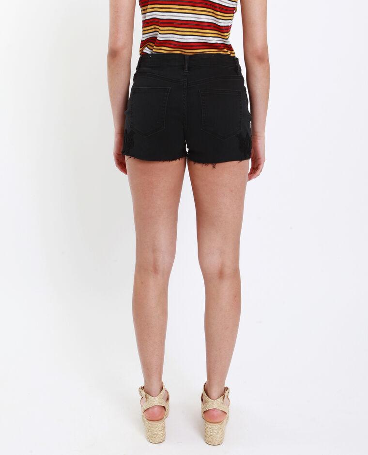 Short mid waist ricamato nero