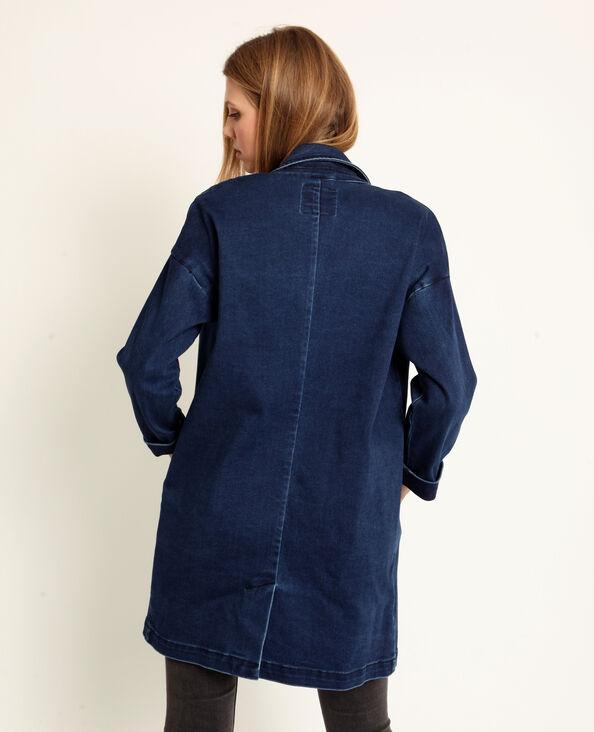 Giacca lunga in jeans blu denim