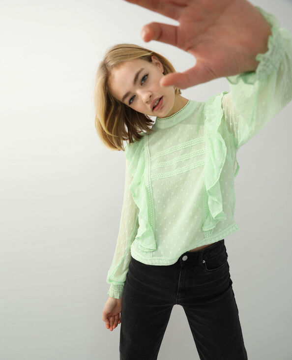 Blusa in pizzo con volant verde - Pimkie