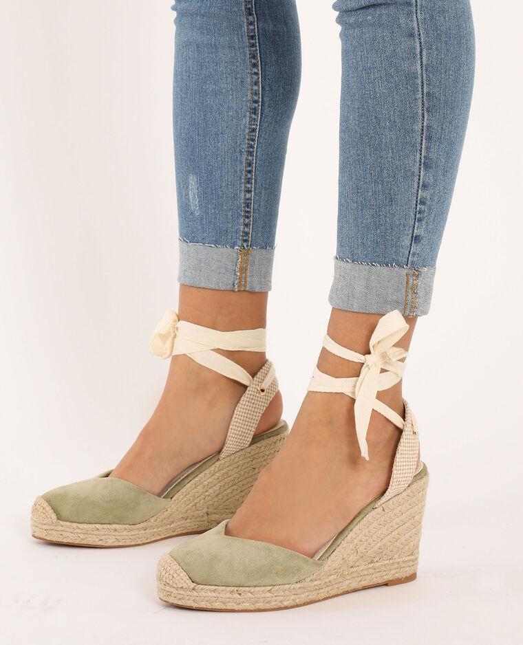 Sandali con zeppa in paglia kaki