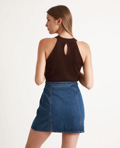 Top in maglia cioccolato