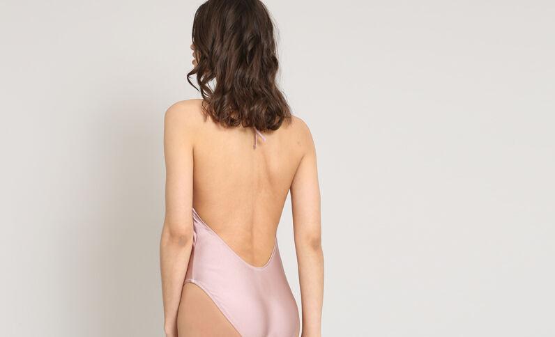 Costume intero con lacci rosa