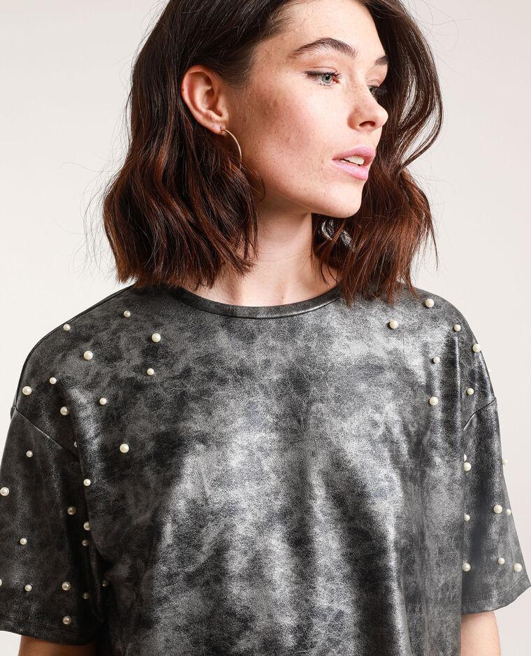 T-shirt con perle grigio antracite