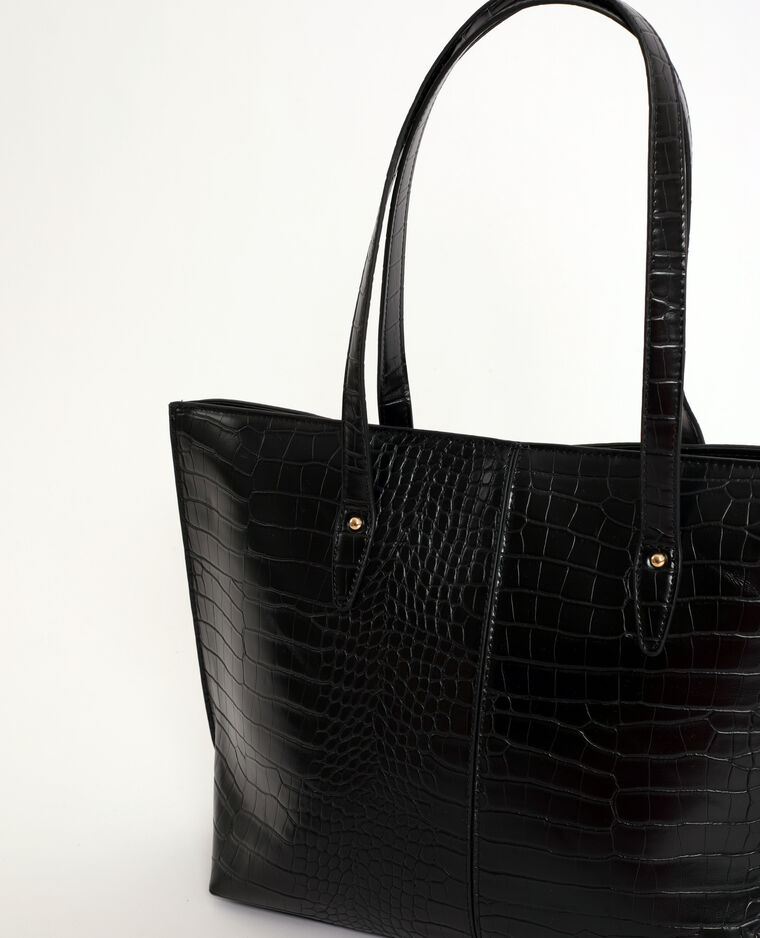 Borsa shopping coccodrillo nero