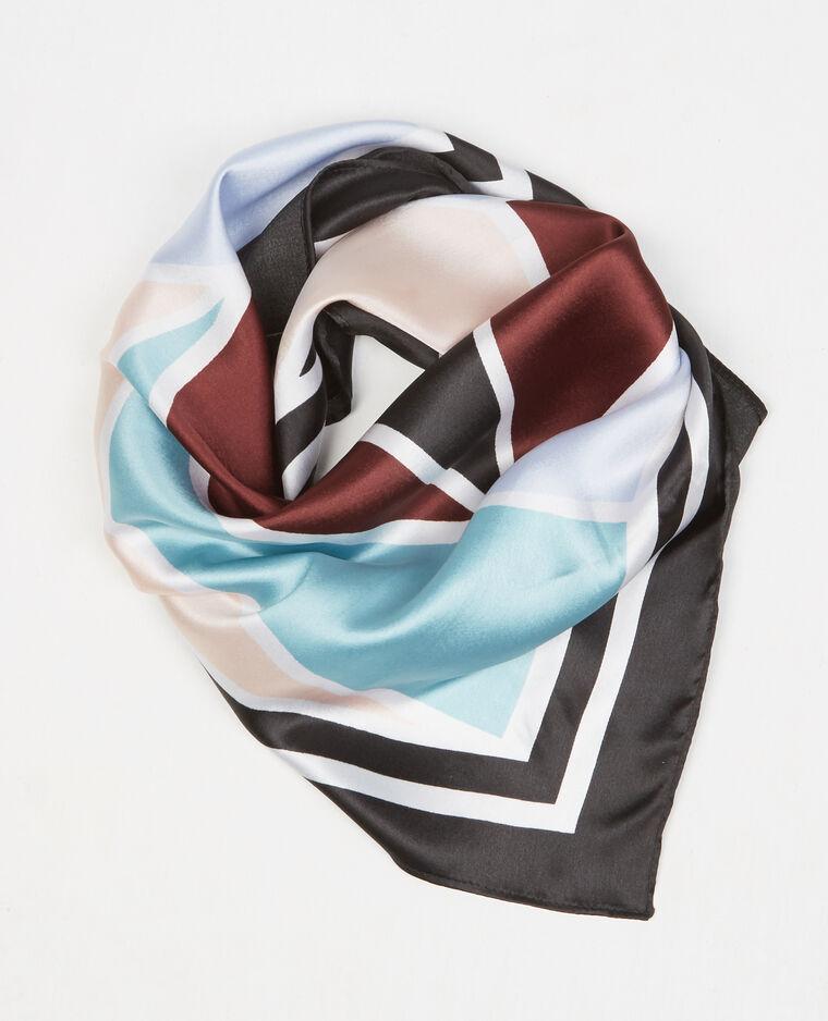 Piccolo foulard satinato geometrico Nero