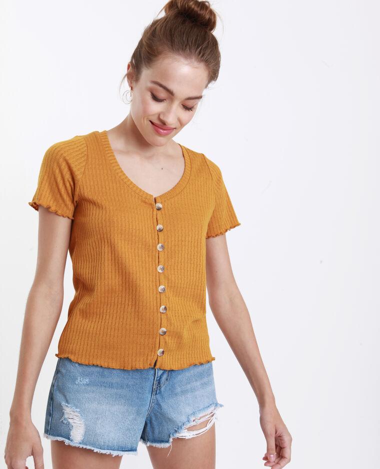 T-shirt maglia traforata giallo