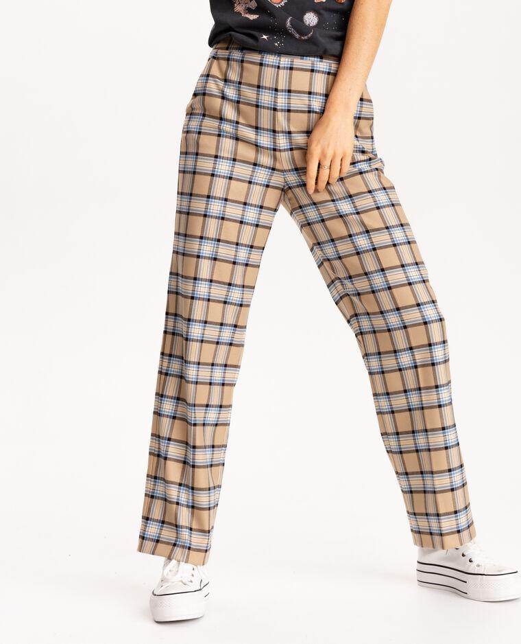 Pantalone a quadri beige