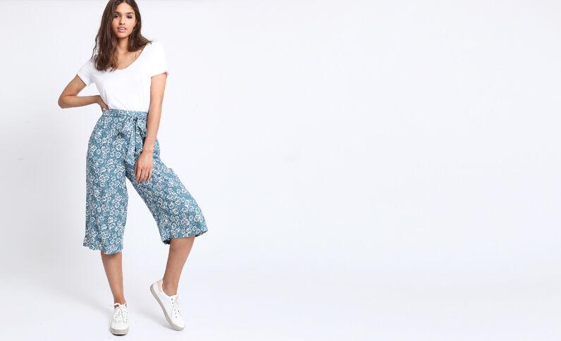 Gonna pantalone a fiori bianco