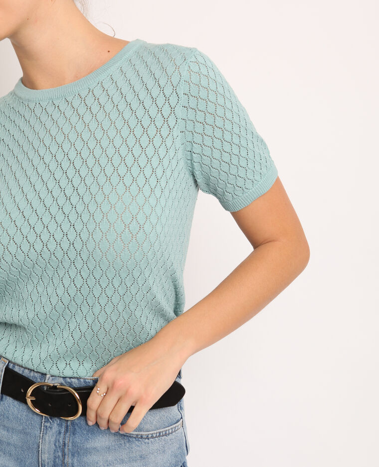 T-shirt traforata verde acqua