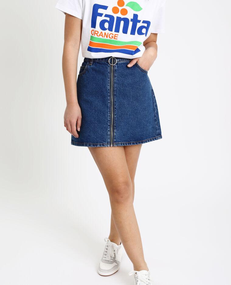 Gonna in jeans con zip blu grezzo