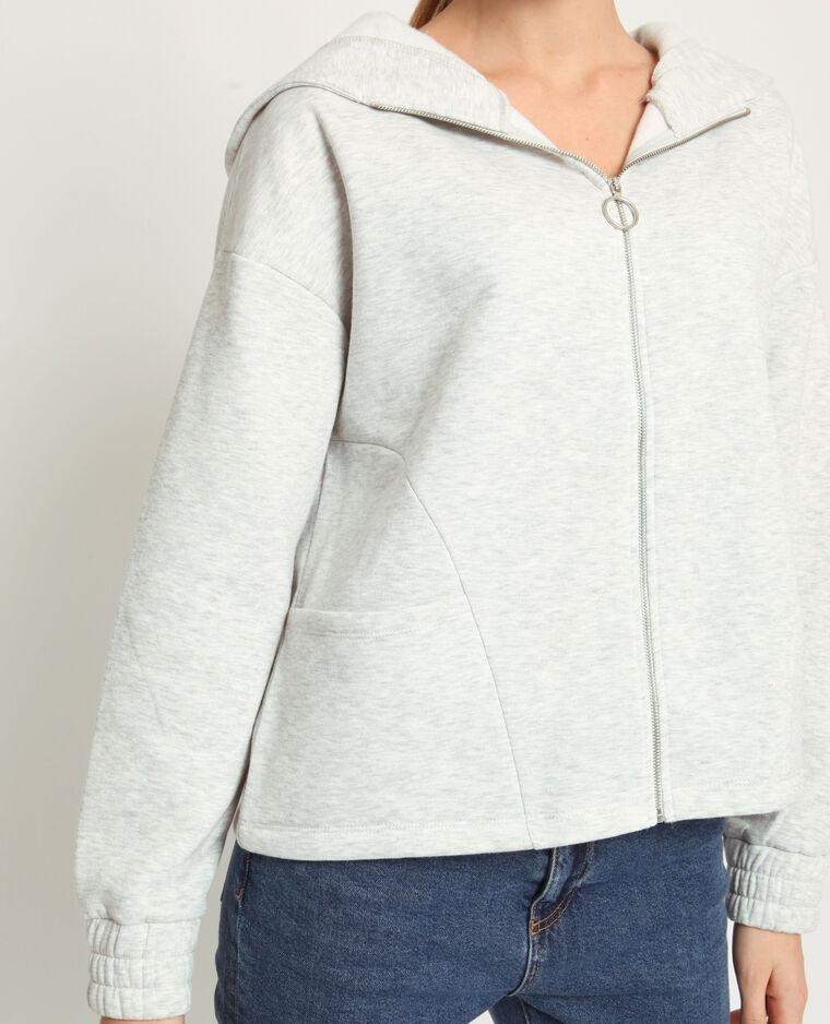 Felpa con zip grigio chiné
