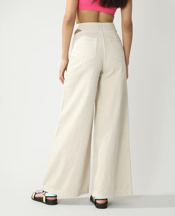 Jeans wide leg high waist con tagli écru - Pimkie