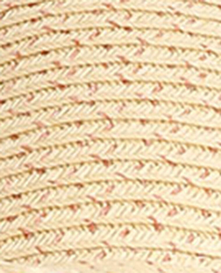 Cappello a tesa larga color grigio metallizzato beige corda