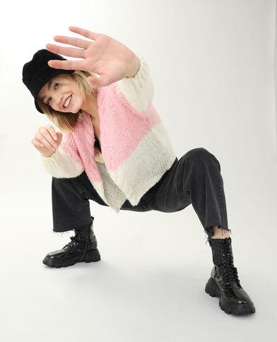 Cardigan in maglia spessa rosa