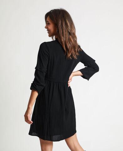 Abito camicia ricamato nero