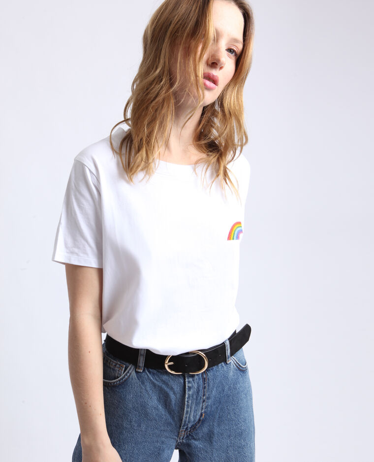 T-shirt arcobaleno bianco