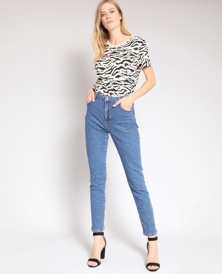 Jeans slim a vita alta blu scuro