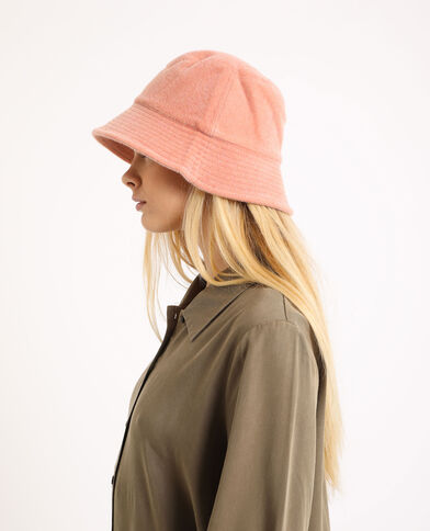 Cappello bob effetto pelliccia rosa cipria