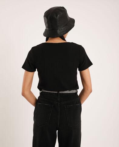 T-shirt con scollatura a V nero