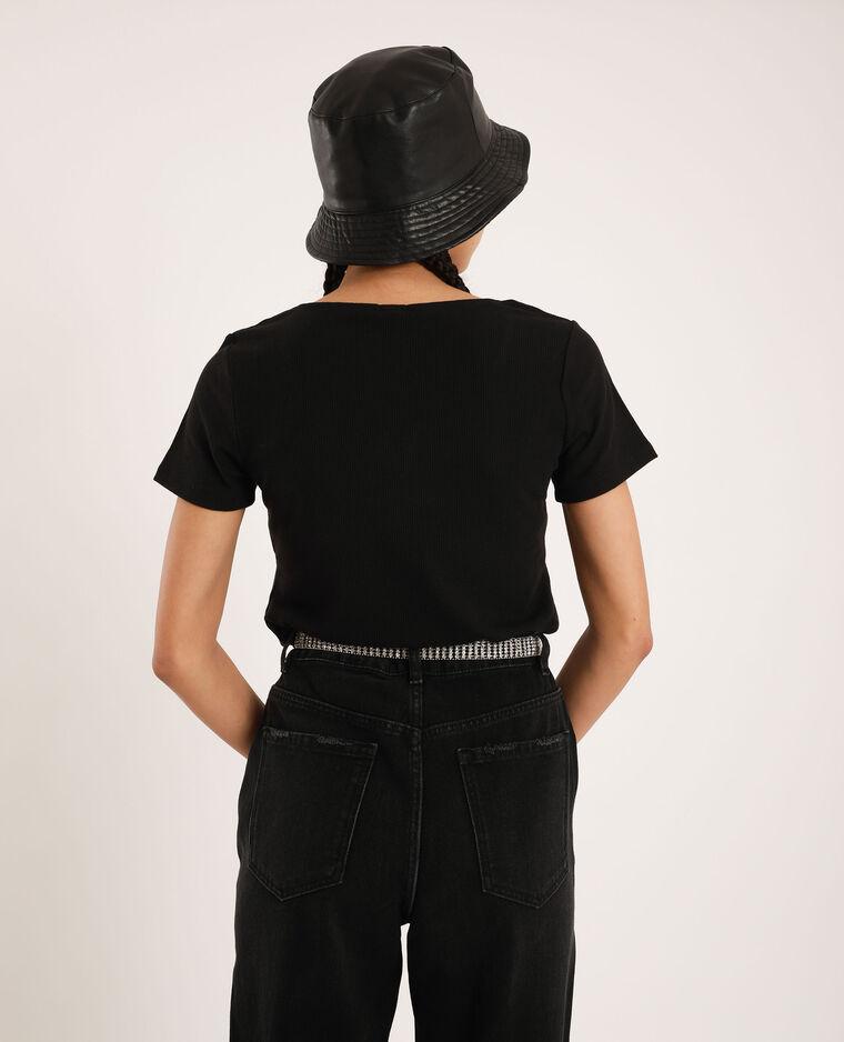 T-shirt con scollatura a V nero - Pimkie