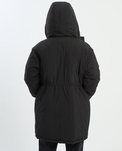 Piumino lungo con cappuccio nero - Pimkie