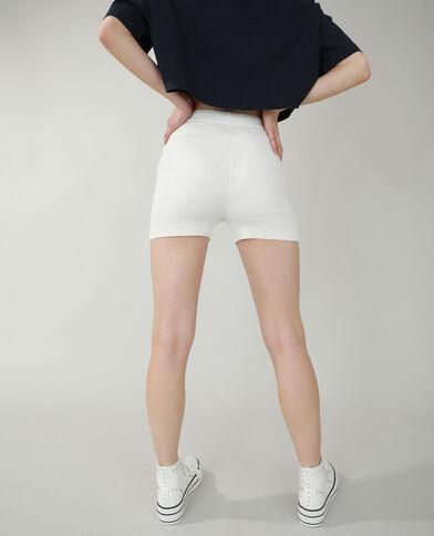 Pantaloncini corti in stile ciclista a coste bianco sporco