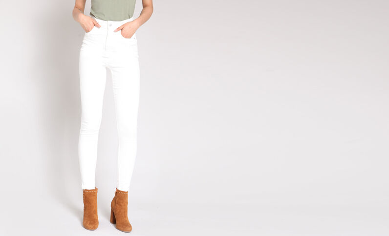 Pantalone skinny a vita alta écru