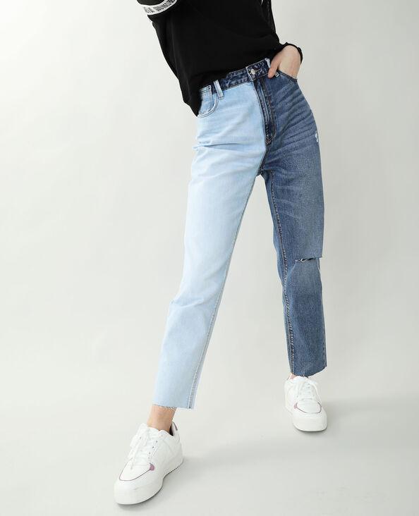 Jeans mom straight blu denim