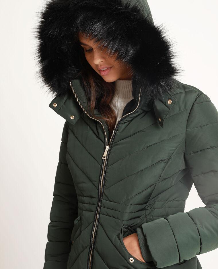 Piumino con pelliccia ecologica verde