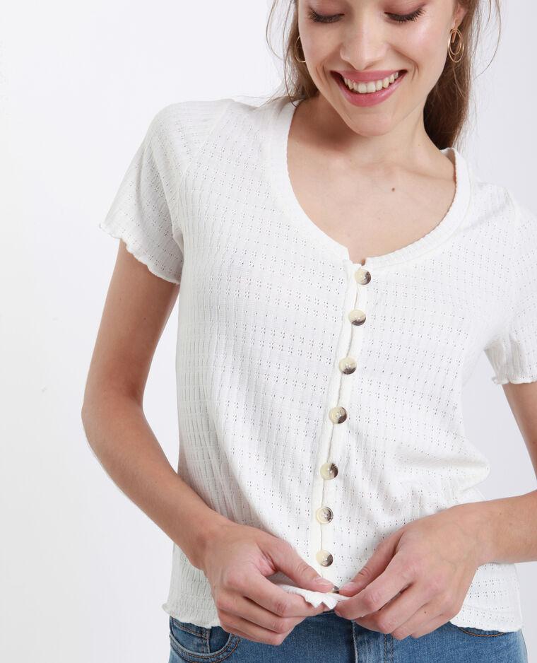 T-shirt maglia traforata bianco sporco