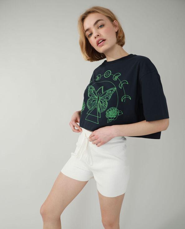 T-shirt cropped blu marino - Pimkie