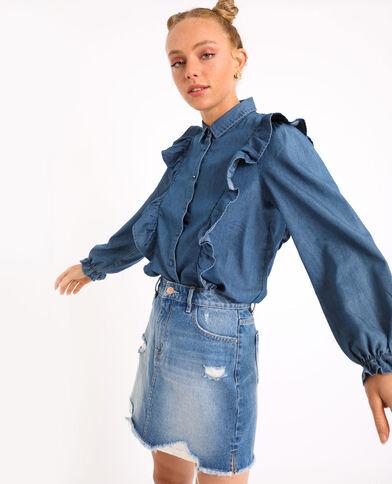 Camicia con volant blu