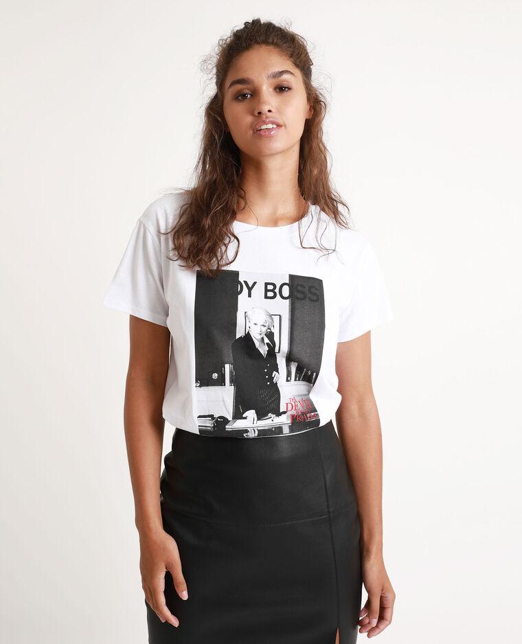 T-shirt Il diavolo veste Prada bianco