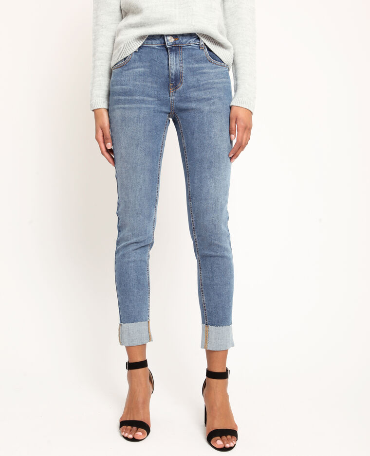 Jeans dritto con risvolti blu denim