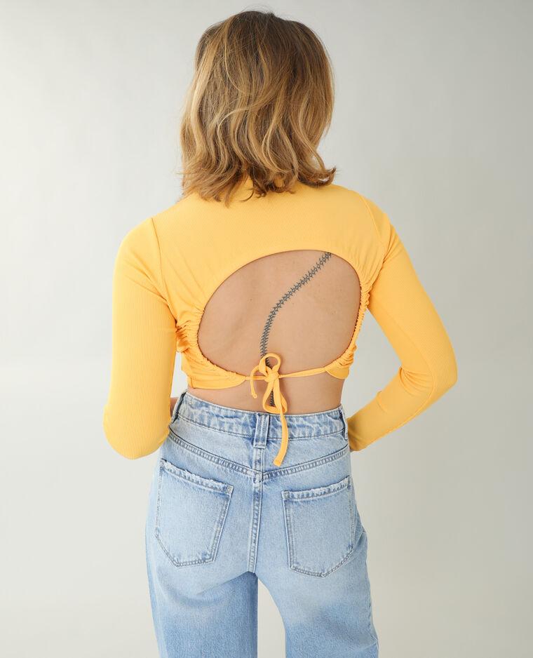 T-shirt a coste con schiena scoperta arancio
