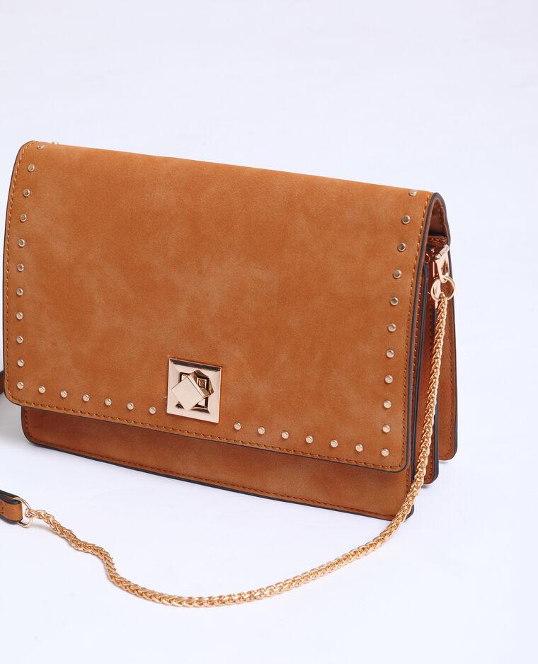 Piccola borsa con borchie caramello